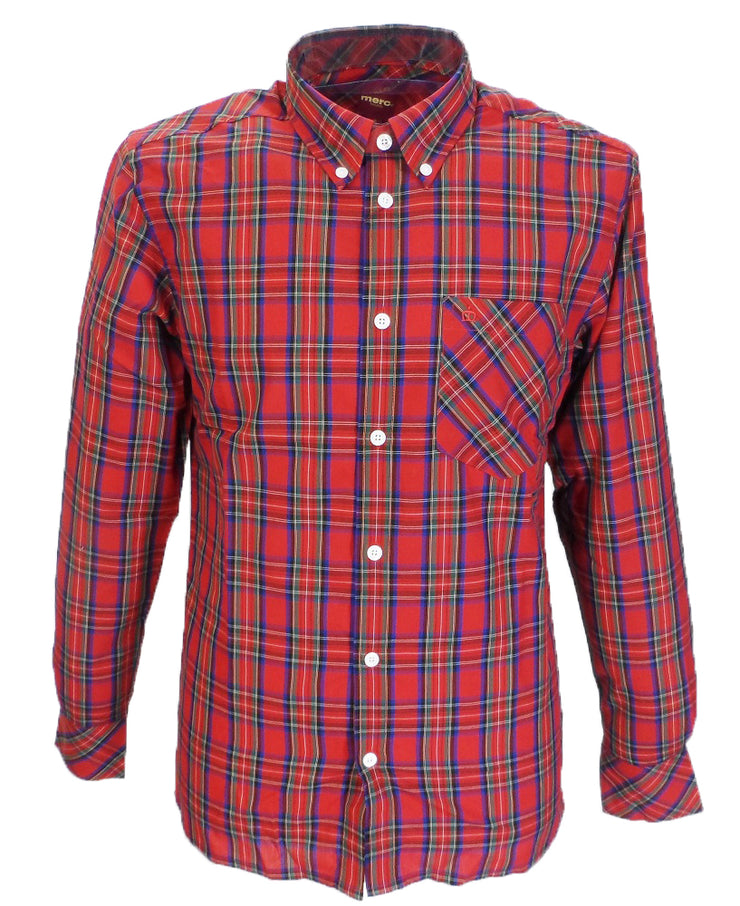 Merc Red Neddy Cotton Long Sleeved Retro Mod Button Down Shirts