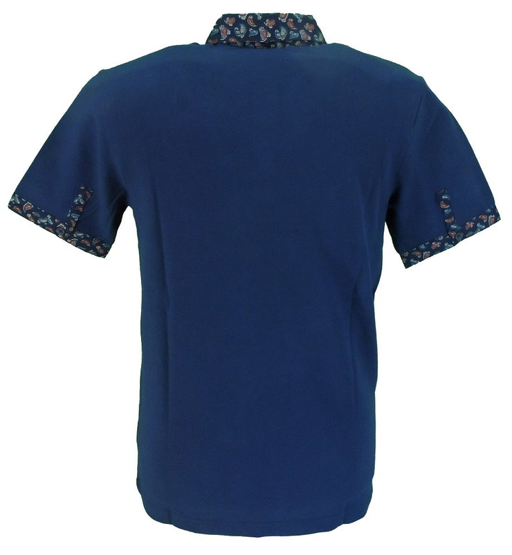 Merc London Navy Paisley Trim Polo Shirt