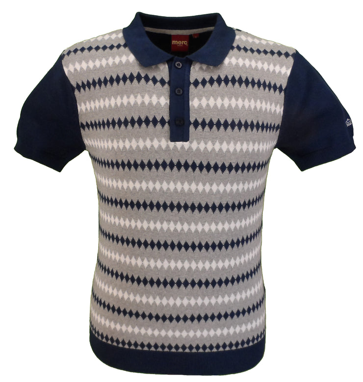 Merc Mens Farley Navy Knitted Polo Shirts …