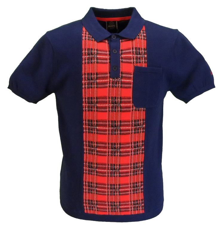 Merc Luna Navy Knitted Vintage Mod Polo Shirts