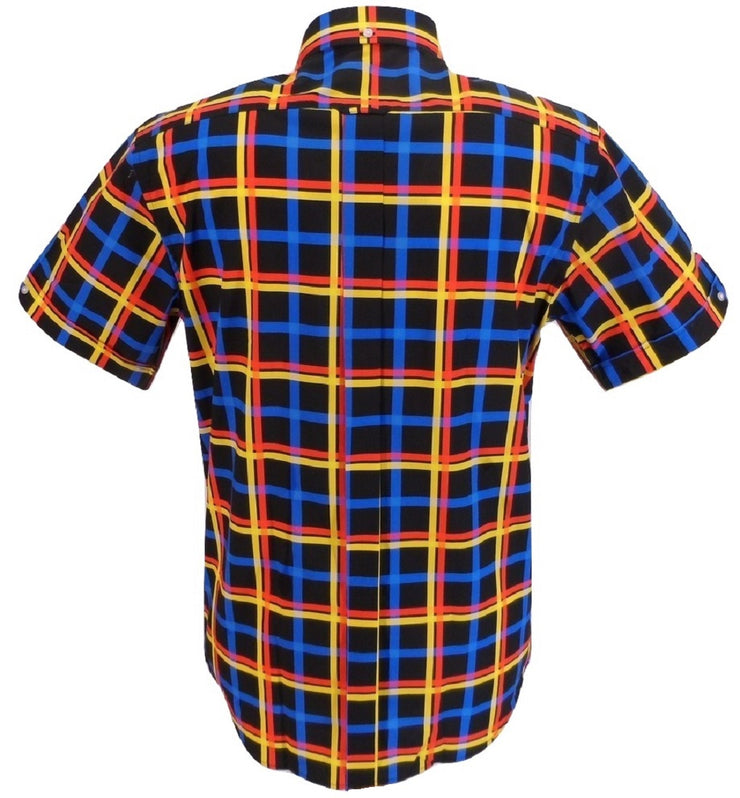 Mazeys Mens Black Multi Checked 100% Cotton Short Sleeved Shirts