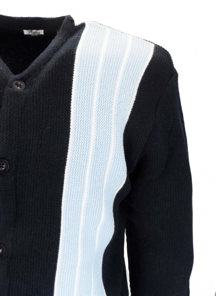 Relco Classic Retro Striped Heavy Knit Navy Cardigan