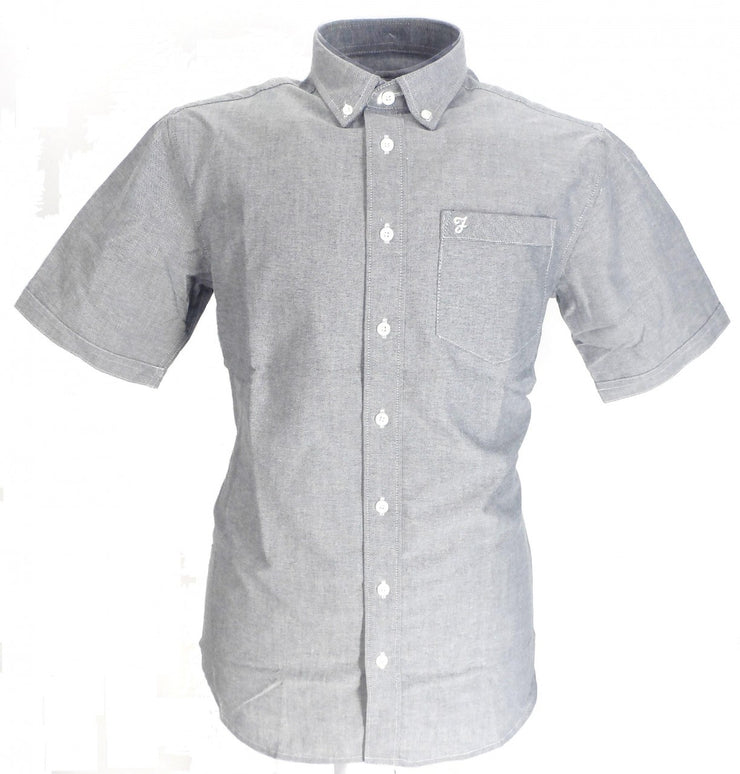 Farah Navy Oxford Cotton Short Sleeved Retro Mod Button Down Shirts