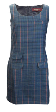 Relco Ladies Retro Mod Blue Tweed Pinafore/Tunic Dress