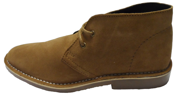 Roamers Sand/Tan 2 Eyelet Sharp Toe Retro MOD Style Real Suede Desert Boots