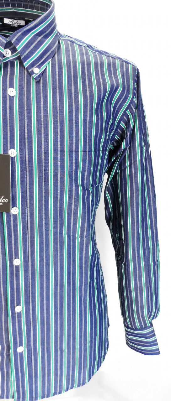 Relco Blue/Green Stripe Cotton Long Sleeved Retro Mod Button Down Shirts