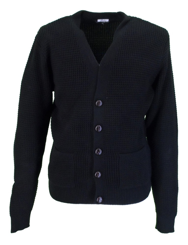 Relco Classic Retro Waffle Knit Black CARDIGAN