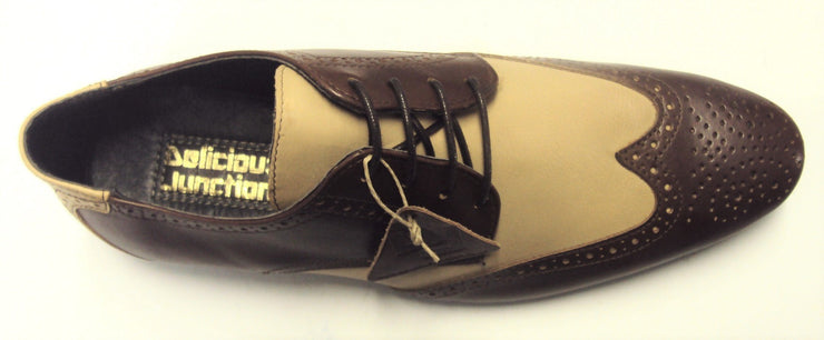 Delicious Junction Ogden Brown & Cream Leather Brogue Shoe