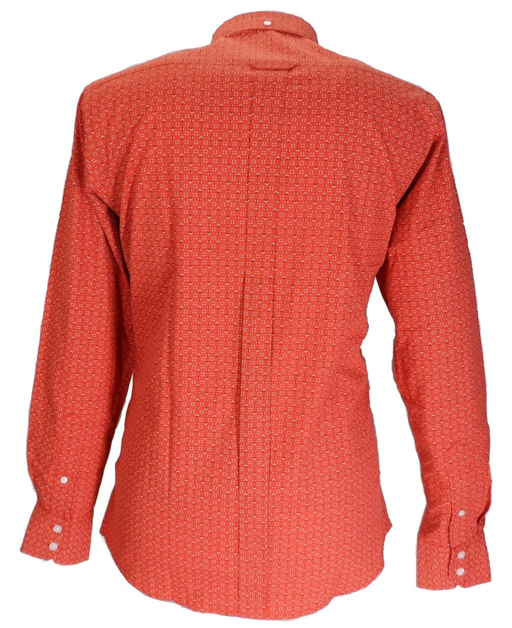 Relco Orange Print 100% Cotton Long Sleeved Retro Mod Button Down Shirts