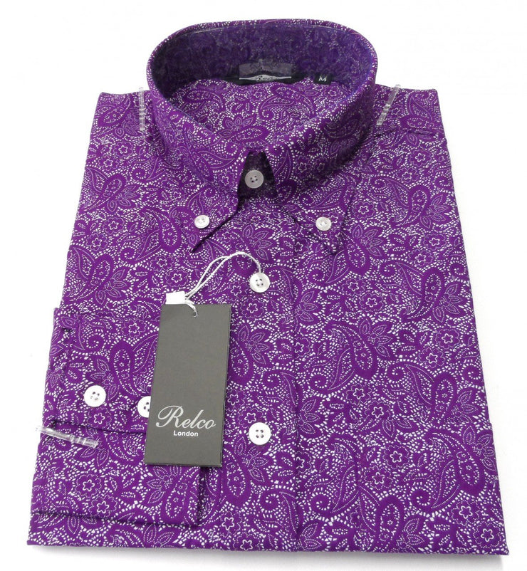 Purple Paisley Shirt - Relco Long Sleeved Retro Mod Button Down