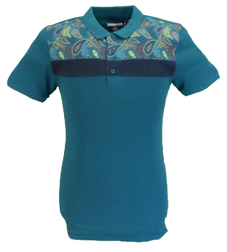 Lambretta Men`s Teal Green Paisley Stripe 100% Cotton Polo Shirts