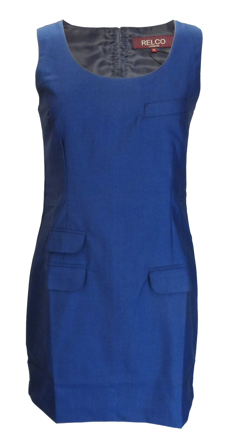 Relco Ladies Retro Mod Blue/Black Tonic Pinafore/Tunic Dress