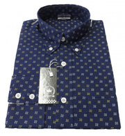 Relco Navy Print 15 Cotton Long Sleeved Retro Mod Button Down Shirts