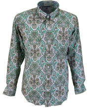Relco Platinum White/Green/Gold Paisley Satin Cotton Long Sleeved Retro Mod Button Down Shirt …