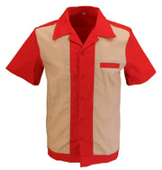 Retro Red/Cream 50s Rockabilly Bowling Shirts
