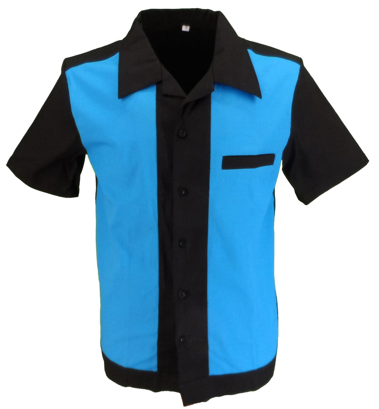 Retro Black/Blue 50s Rockabilly Bowling Shirts