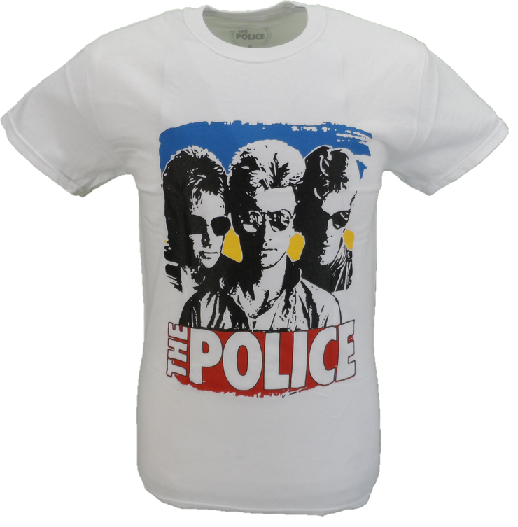 Mens White Official The Police Sunglasses T Shirt