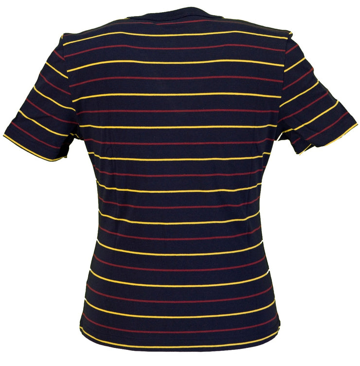 Pop Retro Indie Striped Navy/Yellow/Red Cotton Pocket T-Shirt