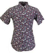 Pop Short Sleeved Burgundy Paisley Shirts