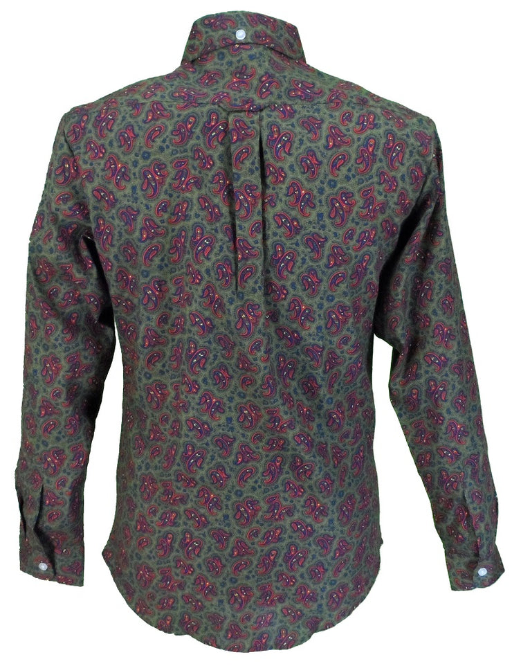 Olive Green Paisley Cotton Long Sleeved Retro Mod Button Down Shirts …