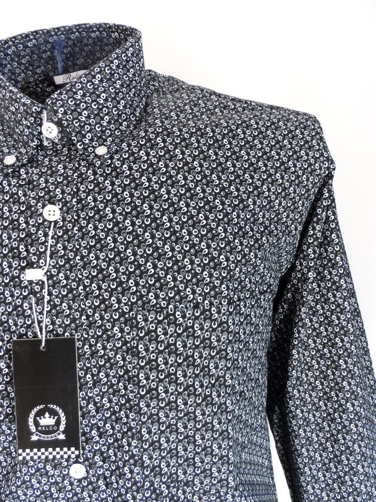Relco Black/Grey Print Cotton Long Sleeved Retro Mod Button Down Shirts