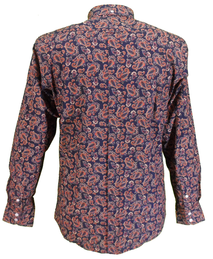 Relco Mens Navy Multi Paisley Long Sleeved Retro Mod Button Down Shirt