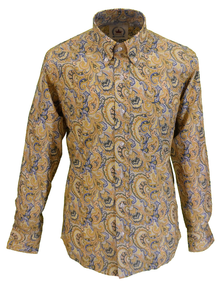 Relco Mens Mustard Paisley Long Sleeved Retro Mod Button Down Shirt