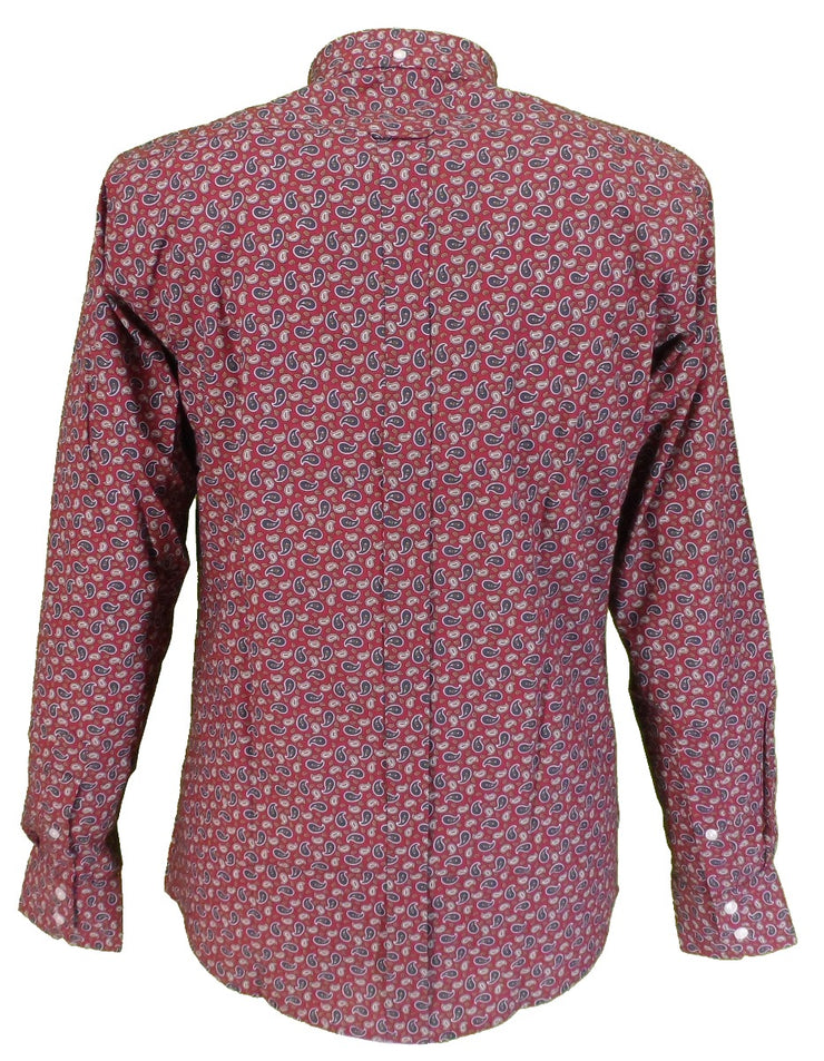 Relco Burgundy Paisley 100% Cotton Long Sleeved Button Down Shirts