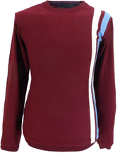 Mens Burgundy Stripe Fine Gauge Mod Racing Jumper