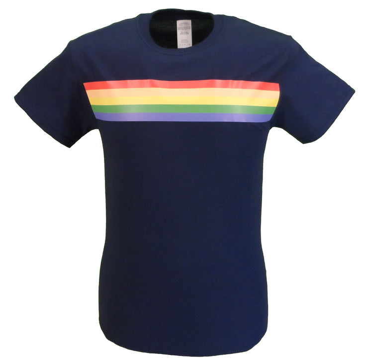 Mazeys Mens Navy Retro Mod 60s Indie Rainbow Striped Cotton T-Shirt