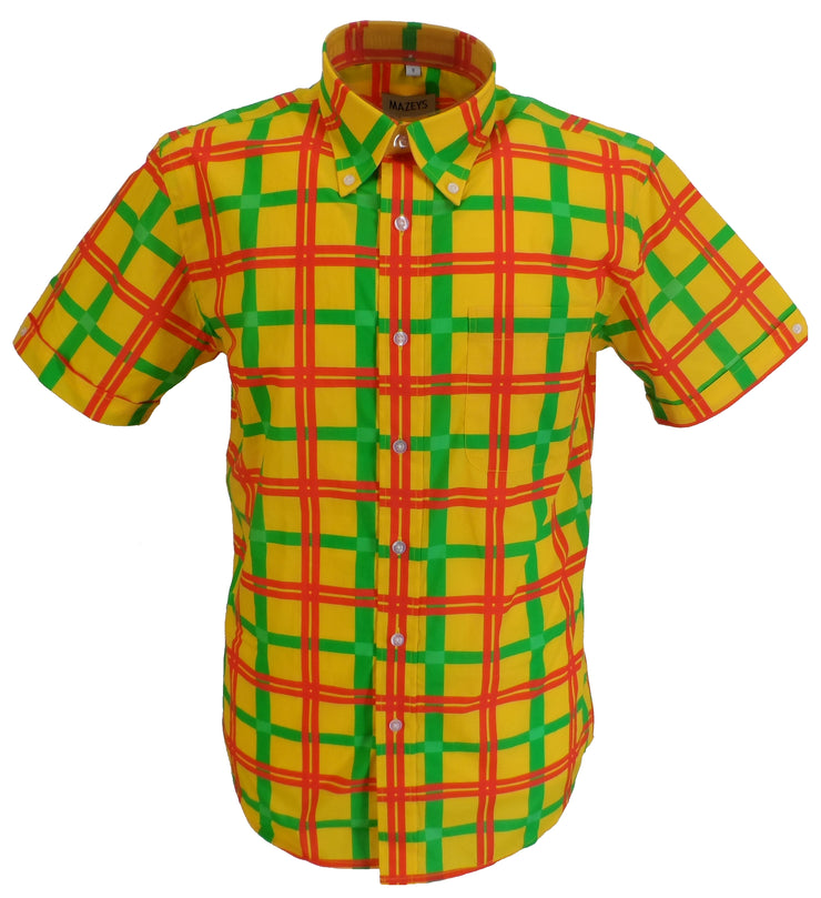 Mazeys Mens Red/Gold/Green Checked 100% Cotton Short Sleeved Shirts