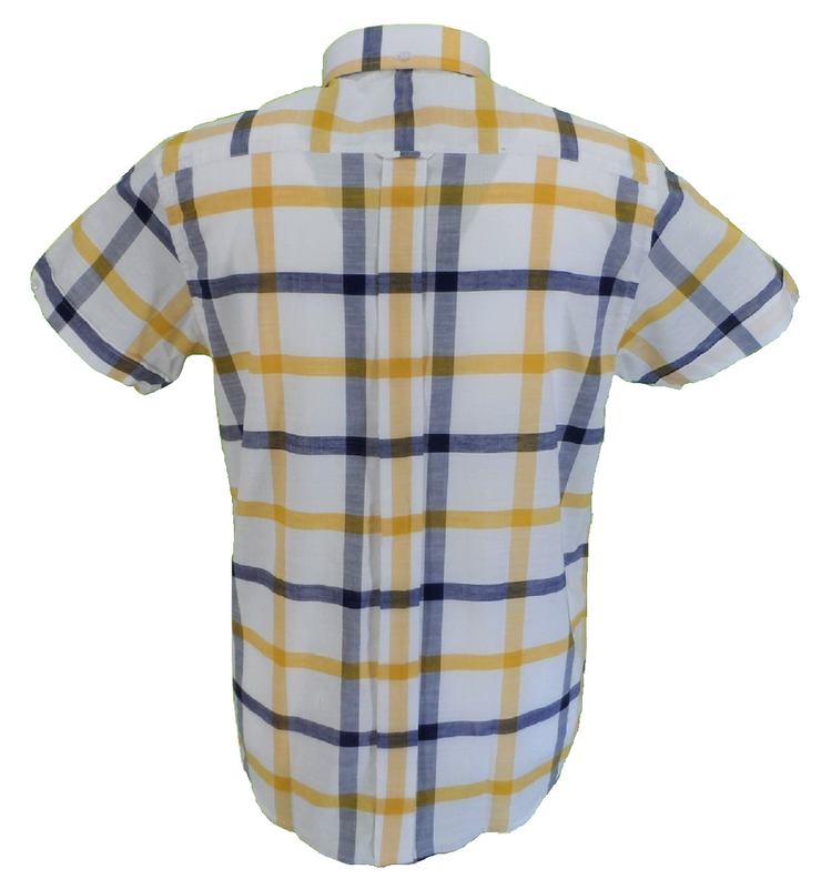 Real Hoxton Blue/Yellow/White Checked Short Sleeved Button Down shirt