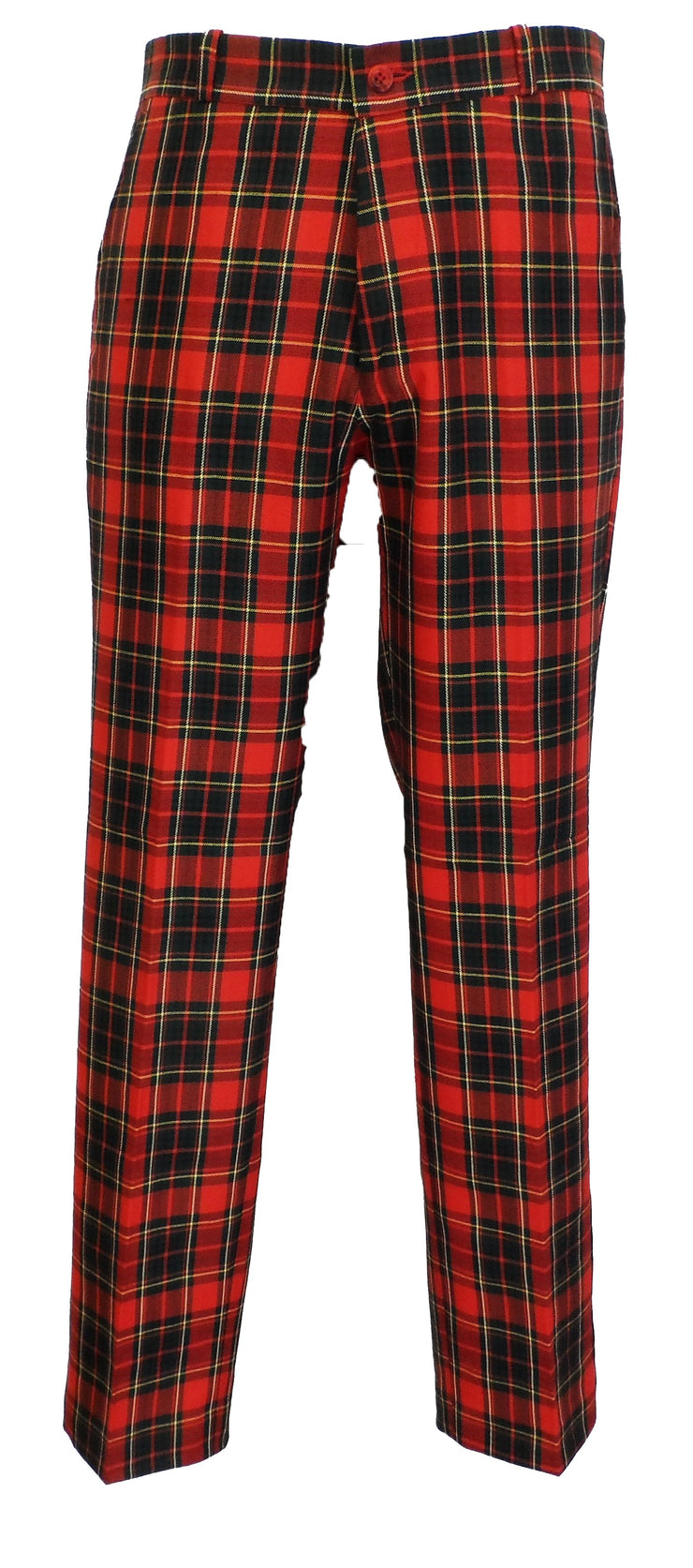 Red Tartan 60S 70S Retro Mod Vintage Sta Press Trousers