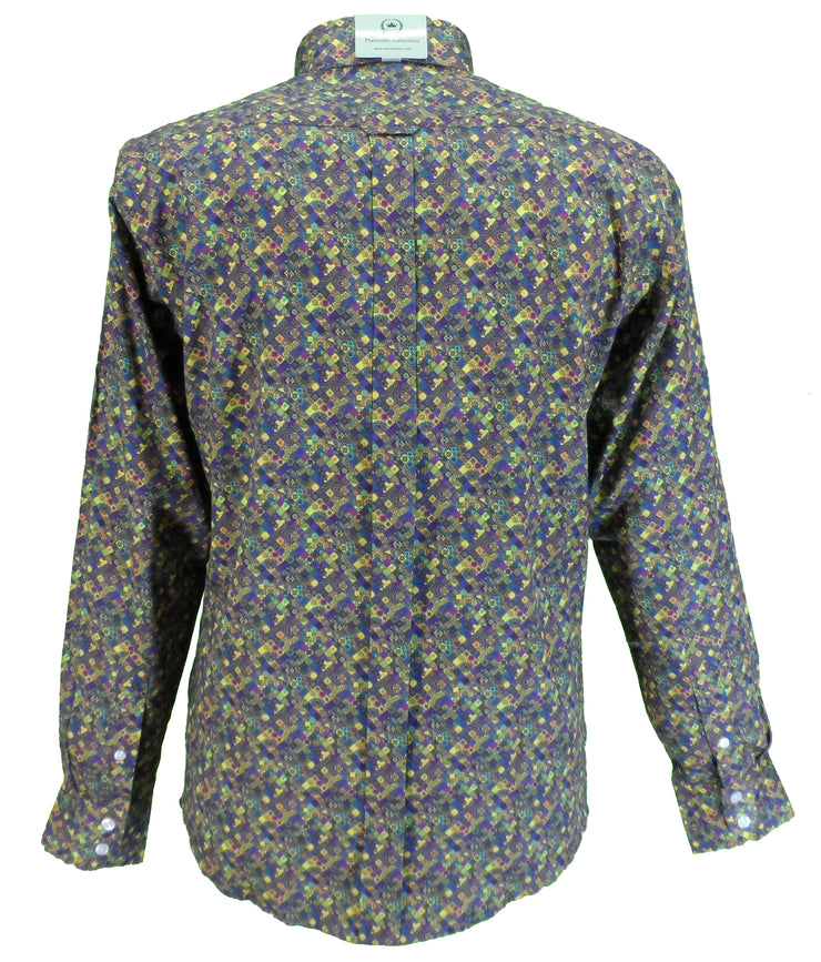 Relco Platinum Mens Digital Psychedelic Print Satin Cotton Button Down Shirts