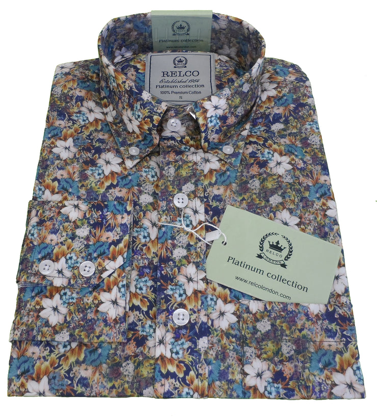 Relco Platinum Mens Digital Floral Print Satin Cotton Button Down Shirts