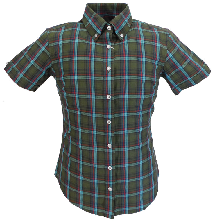 Relco Ladies Retro Green Check Button Down Short Sleeved Shirts