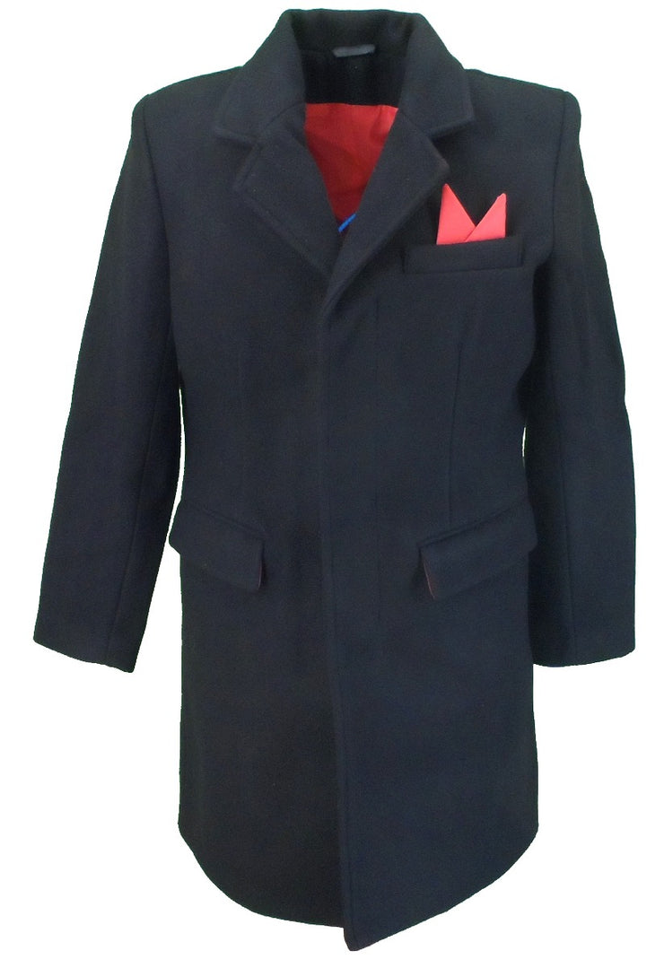 Relco Mens Mod Coat/Overcoat With Red Lining 80% Wool Original Cut