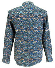 Relco Mens Blue Retro Floral Button Down Shirts
