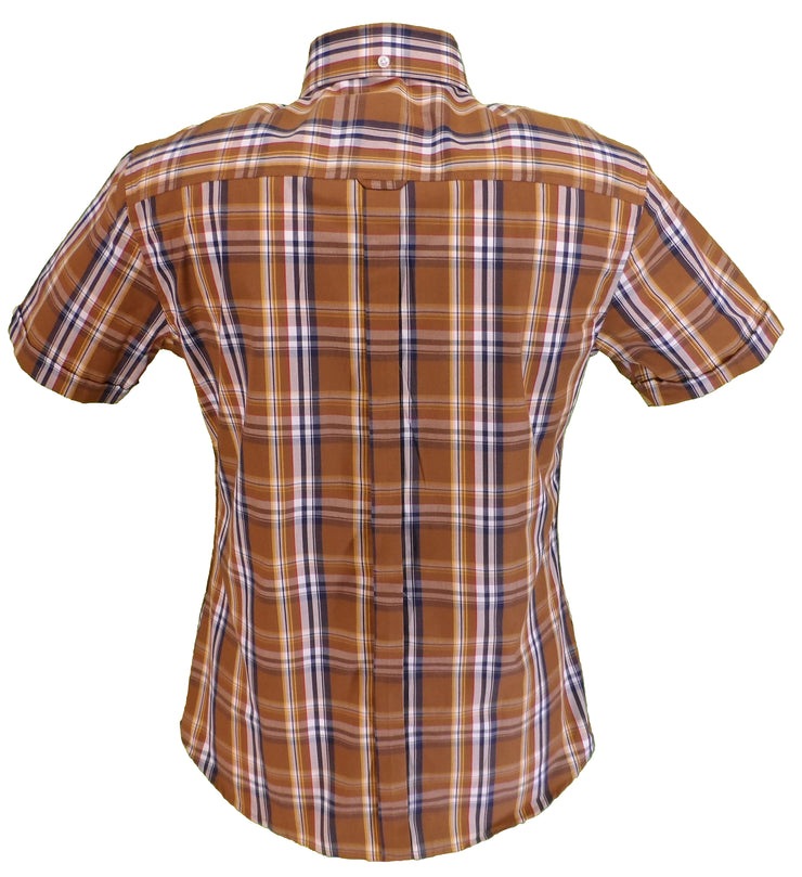 Relco Ladies Brown Checked Button Down Short Sleeved Shirts