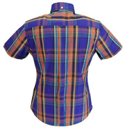 Relco Retro Purple Check Ladies Button Down Short Sleeved Shirts