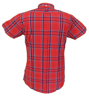 Relco Retro Red Check Ladies Button Down Short Sleeved Shirts