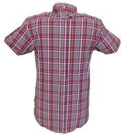 Relco Retro Burgundy & Grey Check Ladies Button Down Short Sleeved Shirts