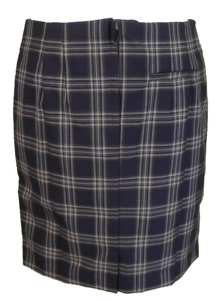 Relco Ladies Retro Rude Girl Navy Tartan Pencil Skirt