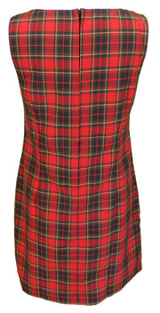 Ladies Retro Mod Red Tartan Pinafore Tunic Dress