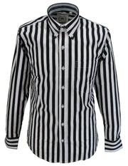 Relco Black & White Stripe Cotton Long Sleeved Retro Mod Button Down Shirts
