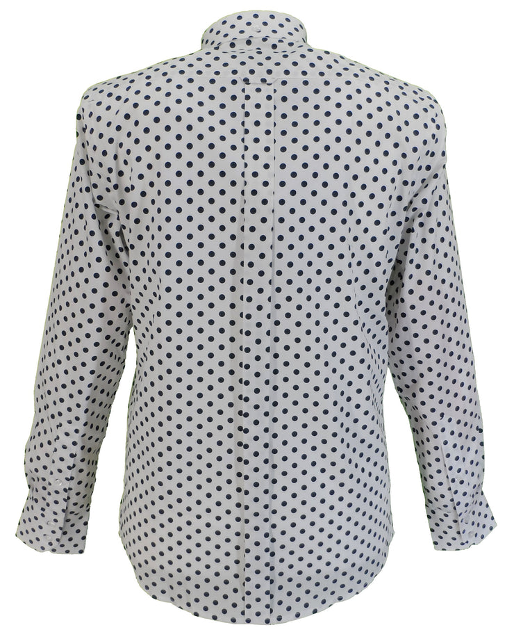 Relco White/Navy Polka Dot Cotton Long Sleeved Retro Mod Button Down Shirts