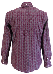 Relco Mens Burgundy Retro Floral Button Down Shirts