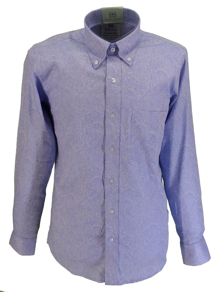 Relco Platinum Mens Blue Paisley Cotton Long Sleeved Shirt