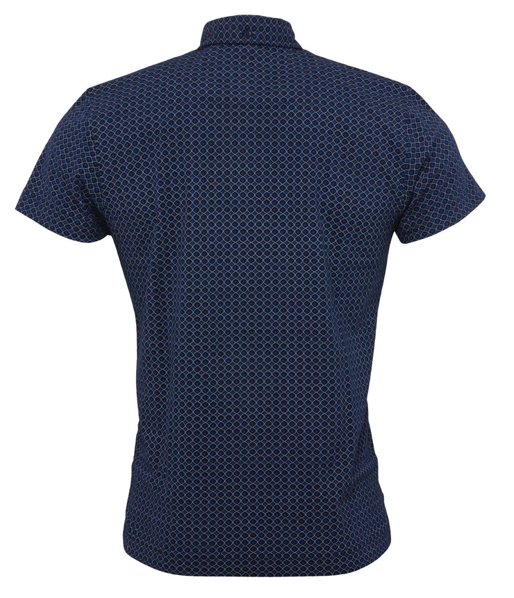 Relco Mens Navy Geo Print Polo Shirts