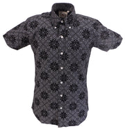 Relco Mens Black Paisley Short Sleeved Retro Mod Button Down Shirt